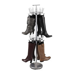 "Household Essentials - Boot Tree With Boot Shapers - Bring harmony out of discord with this lovely Revolving Boot Tree.  Constructed of heavy-duty commercial grade powder coated steel for optimum durability this tree provides the greatest amount of storage while occupying the least amount of floor space by storing boots and/or shoes vertically rather than horizontally.  The weighted bottom stabilizes the 4 height-adjustable independently revolving tiers allowing you to confidently store up to 24 pairs of shoes.  Remove the tiers and add the easy slip on boot hooks to store your boots. Use the Boot Shaper to help attach you boots to the carousel. Use two tiers to hang boots or use 3 tiers for boots and shoes. The possibilities are endless. Its attractive satin silver finish blends seamlessly with most décors giving you the satisfaction of having all your shoes beautifully displayed and easily obtained. Comes with 6 sets of Boot Shapers Comes with 12 hooks for carousels Details:Heavy-duty commercial grade powder coat steel for durability. Adjustable height carousels hold a variety of boots and shoes. Wire racks revolve for easy access. Weighted bottom adds stability. Carrying handle. Multiple configurations make for endless possibilities. 12 Boot hooks easily slide on carousel.4 tier holds up to 24 shoesComes with 6 sets of Boot Shapers (69104) Color: Satin Silver Dimensions:Diameter:     12""/30.5cmHeight:    52""/134cm"