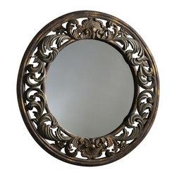 Cyan Design - Cyan Design 33 Inch Round Round Brocade Mirror in Brown - 33 Inch Round Round Brocade Mirror in Brown