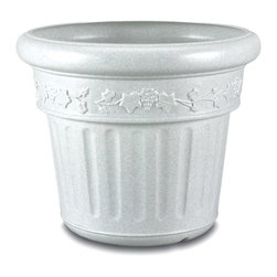 """Patio Living Concepts - Weather Resistant Planter - Granite - This attractive 18"""" high Weather Resistant Planter displays the look of Granite but is constructed of high density polyethylene resin for lightness and ease of movement.  The planter features a wide 21"""" diameter and a decorative embossed pastoral motif.  Nothing says classic like granite: evoke the feeling that only an artistic masterpiece can evoke with this granite colored planter made of durable resin.  Weather resistant, strong, durable, chip resistant and long lasting, this planter can adorn a yard, patio or deck for years to come.  Weather resistant and designed to last, this gorgeous granite colored decorative planter is sure to please. * Large decorative planters made of high density polyethylene resin won't chip, discolor, or crack in cold weather.. Available in Granite, Bronze and Iron. 21"""" diameter. 18"""" high"""