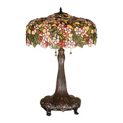 """Meyda Tiffany - 31""""H Tiffany Cherry Blossom Table Lamp - Cardinal Red jewel cherries glisten between Rosy Pink flowers and Verdant Green leaves in our version of the Tiffany Studio's cherry blossom. The cascading blooms and fruit form the undulating edge of this colorful and intricately patterned stained glass shade. This lovely shade rests on a Mahogany Bronze hand finished table lamp base."""