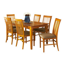 Atlantic Furniture - Atlantic Furniture Shaker 7 Piece Dining Set-Caramel Latte - Atlantic Furniture - Dining Sets - AD84211307