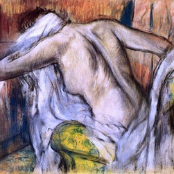 "Edgar Degas After the Bath, Woman Drying Herself   Print - 16"" x 20"" Edgar Degas After the Bath, Woman Drying Herself premium archival print reproduced to meet museum quality standards. Our museum quality archival prints are produced using high-precision print technology for a more accurate reproduction printed on high quality, heavyweight matte presentation paper with fade-resistant, archival inks. Our progressive business model allows us to offer works of art to you at the best wholesale pricing, significantly less than art gallery prices, affordable to all. This line of artwork is produced with extra white border space (if you choose to have it framed, for your framer to work with to frame properly or utilize a larger mat and/or frame).  We present a comprehensive collection of exceptional art reproductions byEdgar Degas."