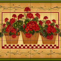 The Tile Mural Store (USA) - Tile Mural - Geranium Pots  - Kitchen Backsplash Ideas - This beautiful artwork by Angela Anderson has been digitally reproduced for tiles and depicts 3 baskets of geraniums.  Our kitchen tile murals are perfect to use as part of your kitchen backsplash tile project. Add interest to your kitchen backsplash wall with a decorative tile mural. If you are remodeling your kitchen or building a new home, install a tile mural above your stove top or install a tile mural above your sink. Adding a decorative tile mural to your backsplash is a wonderful idea and will liven up the space behind your cooktop or sink.