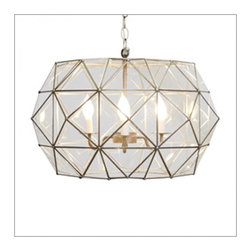 Worlds Away Rozz Clear Glass With Antique Brass - CLear glass UFO pendant with 3 light cluster.