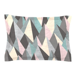 "Kess InHouse - Michelle Drew ""Mountain Peaks III"" Pastel Geometric Pillow Sham (Cotton, 30"" x 2 - Pairing your already chic duvet cover with playful pillow shams is the perfect way to tie your bedroom together. There are endless possibilities to feed your artistic palette with these imaginative pillow shams. It will looks so elegant you won't want ruin the masterpiece you have created when you go to bed. Not only are these pillow shams nice to look at they are also made from a high quality cotton blend. They are so soft that they will elevate your sleep up to level that is beyond Cloud 9. We always print our goods with the highest quality printing process in order to maintain the integrity of the art that you are adeptly displaying. This means that you won't have to worry about your art fading or your sham loosing it's freshness."