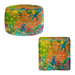 DiaNoche Designs - Ottoman Foot Stool by Kim Ellery - Everything is Rooted in Love - Lightweight, artistic, bean bag style Ottomans. You now have a unique place to rest your legs or tush after a long day, on this firm, artistic furtniture!  Artist print on all sides. Dye Sublimation printing adheres the ink to the material for long life and durability.  Machine Washable on cold.  Product may vary slightly from image.