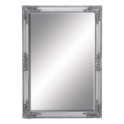 Benzara - Beveled Mirror with Baroque Style Leaf and Floral accents - Stylish and attractive, this Framed Beveled Mirror flaunts a charming design which will enhance the appeal of any room. Ideal for all modern or traditional style setups, this mirror lends a touch of finesse to decor with its stunning silver finish. Featuring a beveled frame, this mirror exemplifies classic style while the delicate moldings augment the visual charm. Baroque style leaf and floral accents decorating this mirror frame give the design an opulent look. Distressed accents add to the design aesthetics and perfectly highlight the charming details decorating this mirror. This dazzling finish of this votive holder perfectly highlights the smooth contours and can be used to decorate display shelves, mantle areas and console tables. This mirror has a rectangular design and is set in a sturdy frame which is crafted from quality wood for durability and hassle-free usage.