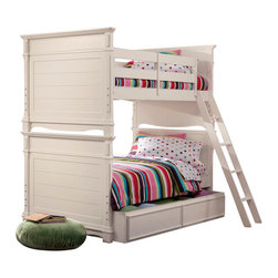 Lea Industries - Lea Hannah 3 Piece Bunk Bed Kids' Bedroom Set in White - The Hannah Collection by Lea is sure to look great in any girl's room with its soft curves, shaped pilasters, finessed lines, scalloped details, and casual hardware. This collection is offered in a crisp White finish and is crafted from solid hardwoods and painted wood products. The Hannah Collection offers many different storage that are perfect for any size room. With the updated country classic styling of the Hannah Collection it is sure to be a great fit for your daughter's bedroom! With roots that stretch all the way back to 1869, Lea Industries has been adding its signature style and design to homes around the United States for more than a century. Children's furniture makes up the cornerstone of this topnotch manufacturer's lineup, and Lea has always managed to produce functional, modern - yet sophisticated - furniture for children. Furniture that bears the Lea name is always high quality, versatile and attractive.