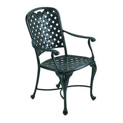 Frontgate - Provence Dining Arm Chair with Cushion, Patio Furniture - Heavy-gauge, exquisitely detailed double-sided cast double lattice back. Permanent mold casting gives a much cleaner impression than hand carved wood molds pressed into sand. Refined arms and legs complement intricate trellis detail. The look of fine indoor furniture, but made to withstand the elements. Exclusively designed and colored fabrics including Sunbrella&reg solution-dyed acrylics, using only the finest materials and technology for longevity outdoors. Discover open-air serenity with the Provence Dining Arm Chair by Summer Classics. The highly detailed double lattice design offers casual elegance to any outdoor decor. Features a tough, powder coated finish that is weather resistant. Extra plush Sunbrella&reg fabric cushions are included and remain colorfast and easy to clean even after seasons in the sun.Part of the Provence Collection by Summer Classics&reg. . . . . . Assembly required. Note: Due to the custom-made nature of the cushions, any fabric changes or cancellations made to the Provence Collection by Summer Classics&reg must be made within 24 hours of ordering.