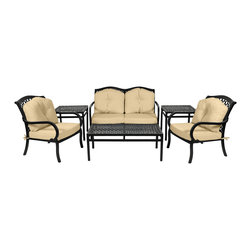 Classic 6pc deep seating with cushions - Commercial Grade Classic Collection 6pc Deep Seating, Set includes 1 cushioned Loveseat, 2 cushioned Lounge Chairs, 1 Coffee Table, and 2 end tables in a black finish. This durable, aluminum collection features a timeless design that is sure to add beauty to any outdoor living area. The swooping, woven design of the Classic Collection brings elegance to any outdoor living area. The distinguished design and durable aluminum construction provide class and comfort for any outdoor space. The commanding presence of the table together with the grace of the chair is sure to draw families together.
