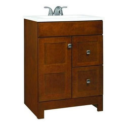 """American Classics by RSI - American Classics by RSI PPARTCHT24DY Chestnut Artisan Artisan 24-1/2"""" - Vanity Package Includes:Vanity cabinet constructed of hardwood materialNatural stone vanity / counter topSingle basin bathroom sinkVanity Cabinet Features:Constructed of hardwood materialVanity features 2 full extension drawers providing ample concealed storage space – drawers operate on smooth ball-bearing glidesVanity features 1 full sized cabinet with matching doors providing ample storage spaceThis model is a complete package - base and top are includedComplete with matching decorative hardwareVanity is crated and shipped fully assembledSolid construction and assembly provides years of reliable performanceVanity Top Features:Vanity top is constructed of natural stone provides a sturdy feel and clean appearanceTop features a recessed single basin bathroom sinkCenter drain location provides optimal draining capabilityFaucet and waste assembly not included with this model - must be purchased separatelySturdy mounting assembly – ensuring safety and reliabilityAll hardware needed for installation is includedVanity Cabinet Specifications:Overall Height: 34-1/2"""" (measured from ground level to highest point on vanity)Overall Width: 24-1/2"""" (measured from left most to right most part on vanity)Overall Depth: 19"""" (measured from back most to front most part on vanity)Mounting Style: FreestandingNumber of Drawers: 2Number of Doors: 1Vanity Top Specifications: Overall Width: 24-1/2"""" (measured from left edge to right edge of vanity top)Overall Depth: 19"""" (measured from back edge to front edge of vanity top)Sink Included: YesDrain Outlet Connection: 1-1/2"""""""