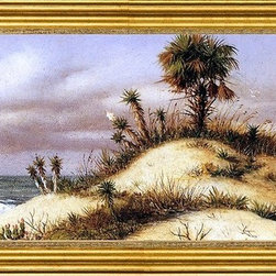 """William Aiken Walker-14""""x28"""" Framed Canvas - 14"""" x 28"""" William Aiken Walker Florida Seascape with Sand Dune, Palm Tree, Yucca, Cactus and Sailboat framed premium canvas print reproduced to meet museum quality standards. Our museum quality canvas prints are produced using high-precision print technology for a more accurate reproduction printed on high quality canvas with fade-resistant, archival inks. Our progressive business model allows us to offer works of art to you at the best wholesale pricing, significantly less than art gallery prices, affordable to all. This artwork is hand stretched onto wooden stretcher bars, then mounted into our 3"""" wide gold finish frame with black panel by one of our expert framers. Our framed canvas print comes with hardware, ready to hang on your wall.  We present a comprehensive collection of exceptional canvas art reproductions by William Aiken Walker."""