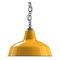 Steber Avalon Chain Hung Pendant - Our porcelain-steel industrial warehouse shade has a new swag mount! The Steber Avalon chain hung pendant light adds retro flair to stylish dens and living rooms!