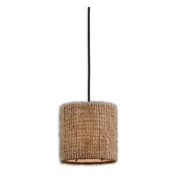 Uttermost - Antiqued Burlap Weave Burleson 1 Lt Mini Hanging Shade - Antiqued Burlap Weave Burleson 1 Lt Mini Hanging Shade
