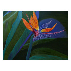 Vivian Stearns-Kohler/Etoile Creations - Bird of Paradise - Oil Painting - Vibrant Bird of Paradise has orange, pink, cranberry and purple petals and is painted in an impasto style (thick paint applied with a palette knife). This compelling, colorful painting has a backdrop of leaves painted in shades of turquoise, olive and lavender.  The canvas is gallery wrapped, wired and ready to be enjoyed in your home.