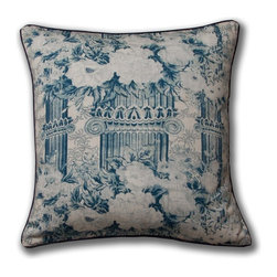 Mary Jane McCarty Studio - Columns Pillow, Indigo, Cover Only - The pillow cover is made from The Mary Jane McCarty Studio collection of fabrics. The fabrics have been  re- created from 19th century document textiles . The pillow is backed with a coordinating natural Belgian linen and features an envelope closure. Please allow 2 to 3 weeks for delivery as pillows are made to order. Can be purchased as cover only or with insert.