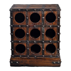 Antique Revival - Natural Rustic 9-Bottle Stand - This solid wood wine cabinet includes a grid of round openings that can hold up to 9 bottles of wine. The iron studs and supports on the dark wood finish adds a rustic, viking feel that looks great in your kitchen or dining room. Item is heavy, sturdy and newly made.