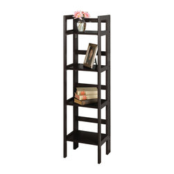 Winsome - 4-Tier Folding Shelf - Black - This folding shelf comes in three different finishes to match any space. Use it in the bathroom for your towels, in the kids room for their stuff toys or in an office for books or files. Made of Solid beechwood.