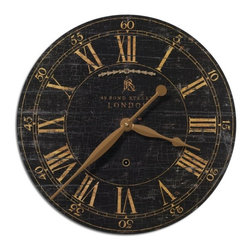 Uttermost - Distressed Antique Wood Clock Black-18 in. - Bond  Street  Crackled  Wall  Clock-18          Vintage  Clock  with  crackled  and  weathered  clock  face  on  wood  laminate.  The  outer  rim  is  constructed  from  antiqued  nickel-plated  cast  brass.  Includes  an  internal  pendulum.  Bond  street  style  clock  with  cream  roman  numerals.  Requires  1-AA  battery.