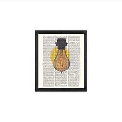 """Zlatka Paneva Framed Print, Light Bulb, No Mat, 11 x 13"""", Black - A delightful meditation on an object we use daily, but often fail to really look at - an ordinary light bulb. Zlatka Paneva was drawn to the different shapes of light bulbs and, particularly, unusual filaments. 11"""" wide x 13"""" high 16"""" wide x 20"""" high 28"""" wide x 42"""" high Alder wood frame. Black- or white-painted finish; or espresso-stained finish. White beveled-cut, archival-quality, acid-free mat. Available with or without a mat. {{link path='/shop/accessories-decor/pb-artist-gallery/artist-gallery-zlatka-paneva/'}}Get to know Zlatka Paneva.{{/link}}"""