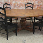 84 round rustic table - Made by www.ecustomfinishes.com