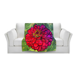 DiaNoche Designs - Throw Blanket Fleece - Diana Evans Parisian Zinnia - Original Artwork printed to an ultra soft fleece Blanket for a unique look and feel of your living room couch or bedroom space.  DiaNoche Designs uses images from artists all over the world to create Illuminated art, Canvas Art, Sheets, Pillows, Duvets, Blankets and many other items that you can print to.  Every purchase supports an artist!