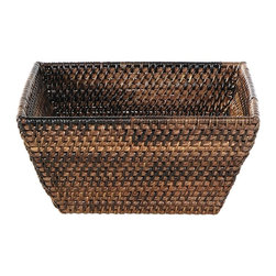 Eco Displayware - Large Square Rattan Bowl in Espresso - Great for closet, bath, pantry, office or toy and game storage. Earth friendly. 8 in. L x 8 in. W x 4.5 in. H (1.05 lbs.)These natural colored baskets add warmth and charm and keep you organized.