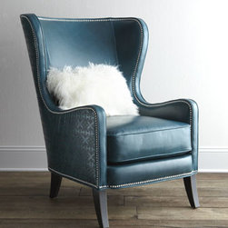 "Massoud - Massoud ""Glenmore"" Wing Chair - Irresistible color accented with silvery nailhead trim and a classic silhouette give this wing chair show-stopping appeal. Handcrafted of furniture-grade hardwood with 100% leather upholstery. Sheepskin pillow included. Suspended coil-spring system....."