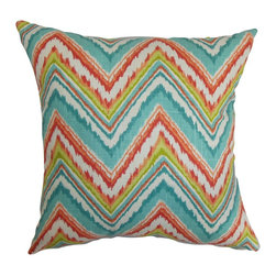 """The Pillow Collection - Dayana Zigzag Pillow Teal Red 18"""" x 18"""" - This remarkable throw pillow will dress up your interiors with its bright color and bold print. The zigzag pattern is combined with vivid shades of teal blue, red, white and green. This chic pillow comes with the ideal 18"""" size which suits most furniture pieces like bed, couch and seat. Combine this square pillow with equally interesting pattern to make your decor style more festive. Made of 100% high-quality and soft cotton fabric. Hidden zipper closure for easy cover removal.  Knife edge finish on all four sides.  Reversible pillow with the same fabric on the back side.  Spot cleaning suggested."""