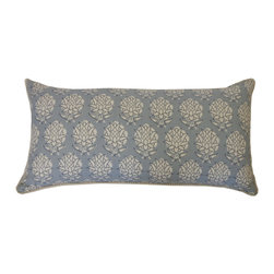 JITI - Pineapple Smoky Blue Pillow, Small - Aloha! Inspired by the spiky pineapple, this pattern brings understated island flair to your sofa. Paired with solid colors and wide stripes, this pillow will fit right in on your favorite wicker sofa.