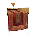 Banarsi Designs - Arabian Velvet Table Runner, Passion Red - Discover the luxurious Arabian Velvet Table runner from our exclusive Banarsi Designs Collection.