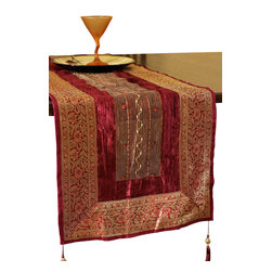 Banarsi Designs - Arabian Velvet 70-Inch by 17-Inch Table Runner, Passion Red - Discover the luxurious Arabian Velvet Table runner from our exclusive Banarsi Designs Collection.