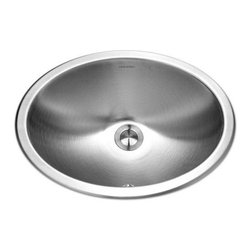 Houzer - Houzer Opus Undermount Lavatory Oval Sink with Overflow (CHO-1800-1) - Houzer CHO-1800-1 Opus Undermount Lavatory Oval Sink with Overflow, Satin Stainless Steel