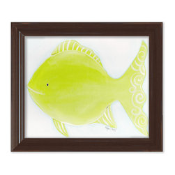 """Doodlefish - Flicka the Fish in Brown Frame - 15""""x18"""" Framed Giclee of a soft apple green fish on a blue washed background. Artwork is available in various frame choices."""