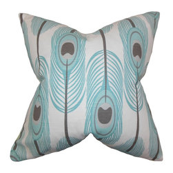 """The Pillow Collection - Hedy Feather Pillow Blue 18"""" x 18"""" - Bring a contemporary twist to your interiors with this unique accent pillow. This throw pillow features an intricate feather print in shades of blue, gray and white. This square pillow is made of 100% plush and soft cotton fabric. Crafted in the USA. Mix and match with solids and other patterns from our pillow collection."""