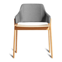 Blu Dot - Blu Dot Clutch Dining Chair, White Oak / Pewter - Sturdy yet elegant and comfortable without being overly plush, Clutch's rounded edges and curved back wrap around to provide the perfect resting spot for arms. Your choice of white oak or smoke on ash wood.