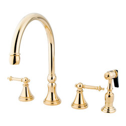 Kingston Brass - 8in. Deck Mount Kitchen Faucet with Brass Sprayer - Two Handle Deck Mount, 4 hole Sink application, 8in. to 16in. Widespread, Solid Brass Side Spray, Fabricated from solid brass material for durability and reliability, Premium color finish resist tarnishing and corrosion, 360 degree turn swival spout, 1/4 turn On/Off water control mechanism, 1/2in. - 14 NPS male threaded inlets, Ceramic disc valve, 2.2 GPM (8.3 LPM) Max at 60 PSI, Integrated removable aerator, 8-1/4in. spout reach from faucet body, 12in. overall height, Ten Year Limited Warranty to the original consumer to be free from defects in material and finish.