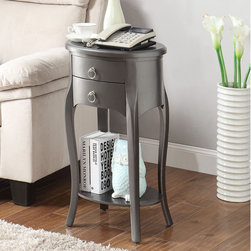 None - Ashton Grey Single-drawer Side Table - A round lower storage shelf and gently curved legs add august style to the Ashton side table. Finished in versatile grey,this transitional table is finished with a single drawer to provide storage space.
