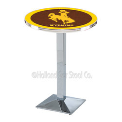 Holland Bar Stool - Holland Bar Stool L217 - Chrome Wyoming Pub Table - L217 - Chrome Wyoming Pub Table  belongs to College Collection by Holland Bar Stool Made for the ultimate sports fan, impress your buddies with this knockout from Holland Bar Stool. This L217 Wyoming table with square base provides a commercial quality piece to for your Man Cave. You can't find a higher quality logo table on the market. The plating grade steel used to build the frame ensures it will withstand the abuse of the rowdiest of friends for years to come. The structure is triple chrome plated to ensure a rich, sleek, long lasting finish. If you're finishing your bar or game room, do it right with a table from Holland Bar Stool.  Pub Table (1)