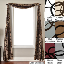 None - Nirvano 6-yard Window Scarf - This polyester window scarf is a beautiful addition to your home decor. With the scarf featuring a circle flocked taffeta pattern,it not only stands out,but it also acts an attractive piece that works well in any room of your home.