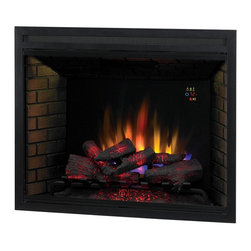 """Dimplex - ClassicFlame 39-Inch LED Builders Electric Firebox with Fixed Glass - 39EB500GRA - The 39"""" Built-In Classic Flame Fireplace features a black powder coat finish, smoked brick facade and is front serviceable. Operate with flame only or flame with heat. The 39EB500GRA wall electric fireplace unit can be hard wired for 120V or 240V. The 39"""" Built-In Classic Flame Fireplace includes fixed glass front and remote control."""