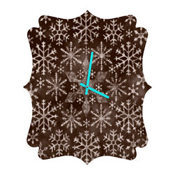 DENY Designs - DENY Designs Ruby Door Frosty Chocolate Quatrefoil Clock - Tick tock, tick tock. When time feels like it's standing still, check out DENY's Quatrefoil Clock. Paired with the art of your choice, this Quatrefoil Clock is just what you need to make the day go by just a little bit faster.
