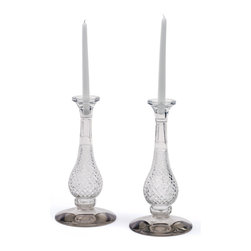 Go Home - Pair of Glass Frasier Candlesticks - Frasier Candlesticks is crafted from glass, this pair of sleek candlesticks will bring an instant dash of Deco glamour to a setting.Place it mid of your dining table sure to give marvelous look.