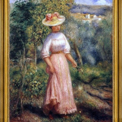 "Pierre Auguste Renoir-16""x20"" Framed Canvas - 16"" x 20"" Pierre Auguste Renoir Young Woman in Red in the Fields framed premium canvas print reproduced to meet museum quality standards. Our museum quality canvas prints are produced using high-precision print technology for a more accurate reproduction printed on high quality canvas with fade-resistant, archival inks. Our progressive business model allows us to offer works of art to you at the best wholesale pricing, significantly less than art gallery prices, affordable to all. This artwork is hand stretched onto wooden stretcher bars, then mounted into our 3"" wide gold finish frame with black panel by one of our expert framers. Our framed canvas print comes with hardware, ready to hang on your wall.  We present a comprehensive collection of exceptional canvas art reproductions by Pierre Auguste Renoir."