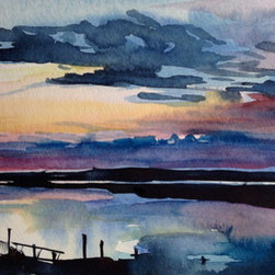 """""""Sunset Dreaming"""" (Original) By Heather Rippert - Sitting On The Back Patio Of A Lovely Waterfront Home, You Can Feel The Quietness, The Soft Breeze, Smell The Salt Air, And Simply Breathe In All The Wonder Of Nature Frozen In A Moment..."""