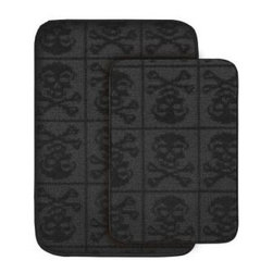 "Garland Rug - Bath Mat: Skulls Black 20 in x 30"" Bathroom 2-Piece Rug Set - Shop for Flooring at The Home Depot. Make your bathroom fun with this two piece skull and bones pattern washable bath rug. Made of 100% Polypropylene with a washable backing. Proudly made in the USA."
