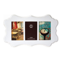 "Prinz - Annabelle White 3 Picture Collage Frame (4x6) - Wood frame with ash wood veneer, sanded edges, wall hangers. 3-opening (holds 4x6"" photos)."