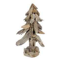 Foreign Affairs Home Decor - Natal Small Christmas Tree - Unique Christmas tree made from recycled teak wood. 10 in. L x 10 in. W x 18 in. H (6 lbs)