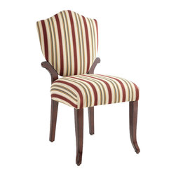 Powell Furniture - Powell Bombay Wellington Side Chair in Vintage Mahogany Finish - Powell Furniture - Accent Chairs - 853620 - Usher in a classy appeal to your home decor with the sophisticatedly designed side chair from the Bombay collection. It is upholstered in plush red and beige striped polyester fabric that gives it an elegant look along with providing you with hours of comfort. The vintage mahogany finish of the chair�s legs complements its red and beige polyester upholstery and adds to the chair�s classy appeal. The sturdy wood frame and legs of this side chair ensure maximum durability and a long life.
