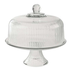 Anchor Hocking - Anchor Hocking Monaco Clear Ribbed Dome Cake Set - Proudly display your handmade cakes,pies and pastries with this graceful Monaco cake plate. This Anchor Hocking plate features wide-wale ribbing and a textured base for decorative style and easy carrying.